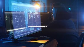 Hacker using computer virus for cyber attack stock footage