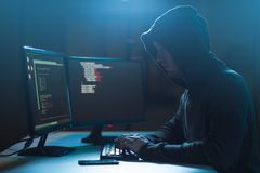 Hacker using computer virus for cyber attack Royalty Free Stock Photo