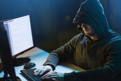 Hacker using computer virus for cyber attack Stock Image