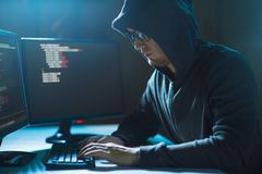 Hacker using computer virus for cyber attack Royalty Free Stock Image
