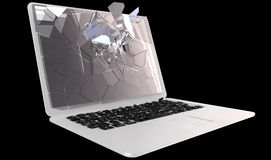 Cybercrime - laptop PC crash Stock Photo