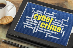 Cybercrime word cloud. Internet concept - cybercrime word cloud on a digital tablet Royalty Free Stock Photos