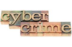 Cybercrime word in wood type. Cybercrime word - isolated text in  letterpress wood type blocks stained by color inks Royalty Free Stock Photos