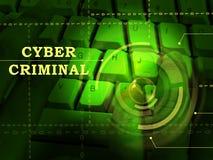 Cybercriminal-Internet-Kerbe oder Illustration des Bruch-3d stockbild