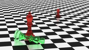 Cyberdefense looses on a chessboard cybersecurity concept. Chess board in black and white with two kings in red an green glass with a shield and a hacker symbol Stock Photo