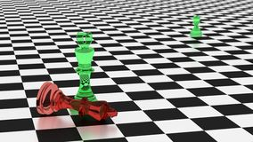 Cyberdefense wins on a chessboard cybersecurity concept. Chess board in black and white with two kings in red an green glass with a shield and a hacker symbol on Stock Photography