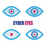 Cyberen synar symbolsymbolsuppsättningen Arkivbild