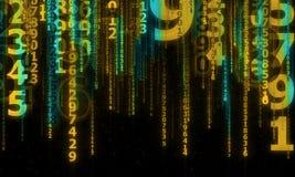 Cyberespace avec les lignes numériques en baisse, d'isolement sur le noir Photos stock