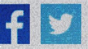 Cyberespace binaire de code de données d'ordinateur du monde numérique social de media banque de vidéos
