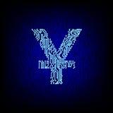Cybergeldkonzept Leiterplatte Yuansymbol-Vektorillustration Stockfoto