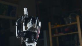 Cyberhand, robotic armgester Innovativt vetenskapsbegrepp stock video