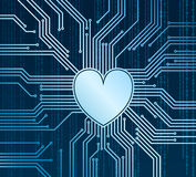 Cyberheart. Abstract technology background with heart in place of processor royalty free illustration