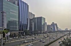 网络城市/Cyberhub建筑学在古尔冈,新德里,印度 库存照片