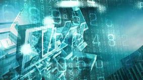 Cyberkriegsführung ai-Sicherheitssysteme, Drohungen der neuen Technologie lizenzfreie abbildung
