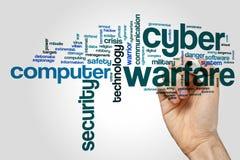 Cyberkriegsführungswort-Wolkenkonzept auf grauem Hintergrund Lizenzfreies Stockfoto