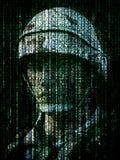 Cyberkrigbegrepp Militär soldat inbäddad in i binär kod för datorinternetsymbol royaltyfri illustrationer