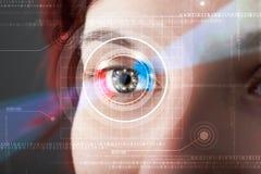 Cyberkvinna med technolgy se för öga stock illustrationer