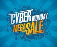 Cybermåndag avfärdar den mega försäljningen, rensning affischen royaltyfri illustrationer