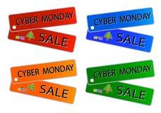CyberMåndag försäljning på Muti färgetiketter royaltyfri illustrationer