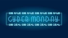 Cybermåndag försäljning - text på måndag för grön backgroundCyber en stor försäljning och stor överenskommelse - neontecken royaltyfri illustrationer