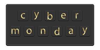 Cybermåndag inskrift på tangentbordet stock illustrationer