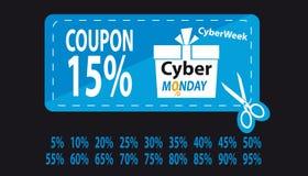 Cybermåndag kupong med procentsatser från 5 till 95 - den blåa vektorillustrationen - som isoleras på svart bakgrund royaltyfri illustrationer