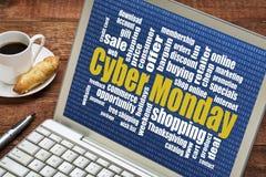 Cybermåndag online-shopping arkivbild