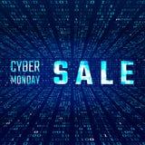 Cybermåndag Sale baner med tekniskt feleffekt på bakgrund för binär kod också vektor för coreldrawillustration stock illustrationer