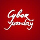 Cybermåndag Sale handskriven text på röd bakgrund också vektor för coreldrawillustration Royaltyfri Bild