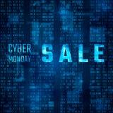 Cybermåndag Sale Promo på blå bakgrund för binär kod också vektor för coreldrawillustration stock illustrationer