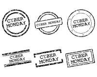 Cybermåndag stämplar stock illustrationer