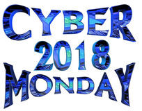 Cybermåndag 2018 text på vit bakgrund royaltyfri illustrationer