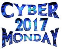 Cybermåndag 2017 text på vit bakgrund Royaltyfri Fotografi