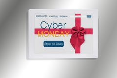 Cybermåndag website med det röda bandet på datorminnestavlan Royaltyfri Fotografi