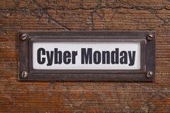 Cybermaandag - dossieretiket Stock Foto