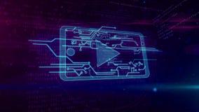 Cybermassmediabegrepp med den mobila spelaren som kretsar animering stock illustrationer