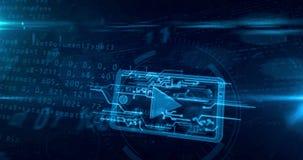 Cybermassmediabegrepp med loopable animering för mobil spelare vektor illustrationer