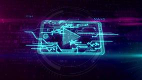 Cybermedia concept met mobiele speleranimatie vector illustratie