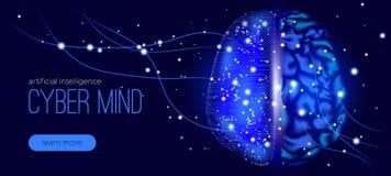 Cybermening, design för konstgjord intelligens royaltyfri illustrationer