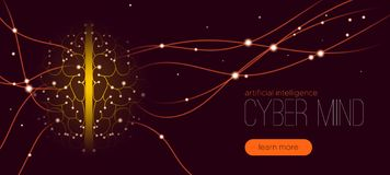 Cybermeningsbegrepp, konstgjord intelligens stock illustrationer