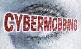Cybermobbing eye with matrix looks at viewer concept Stock Image