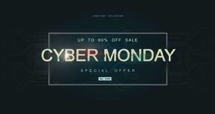 Cybermontag-Aufschrift in verzerrter Störschubart auf schwarzem Hintergrund Digital-Autornguß, Cyberguß, annoncierend lizenzfreie abbildung