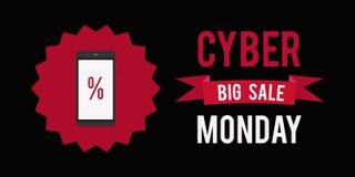Cybermontag-Verkaufsfahnenschwarzhintergrund Vektorillustrationsgraphik Stockbilder