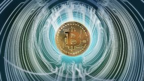 Cybernetic abstract bitcoin concept. This is the abstract recreation of the bitcoin in a digital background. Bitcoin is a digital currency also called crypto Royalty Free Stock Image