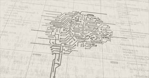 Cybernetic brain futuristic sketch