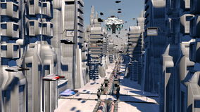 Cybernetic City with Futuristic Buildings and flying cars