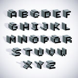 Cybernetic 3d alphabet letters, pixel art  digital typescr. Ipt. Pixel design elements, contemporary dotted font made in technology style Royalty Free Stock Photo