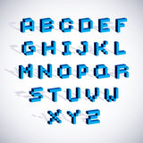 Cybernetic 3d alphabet letters, pixel art  digital typescr. Ipt. Pixel design elements, contemporary dotted font made in technology style Royalty Free Stock Images