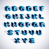 Cybernetic 3d alphabet letters, pixel art vector digital typescr. Ipt. Pixel design elements, contemporary dotted font made in technology style Royalty Free Stock Images