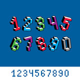 Cybernetic 3d numbers, pixel art vector numeration. Pixel design Stock Image
